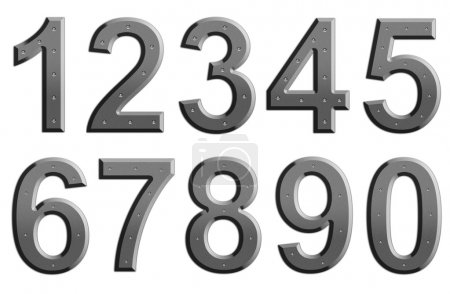 Photo for Metal numbers on plain background - Royalty Free Image