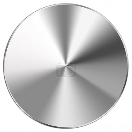 Photo for Shiny stainless steel button on white - Royalty Free Image