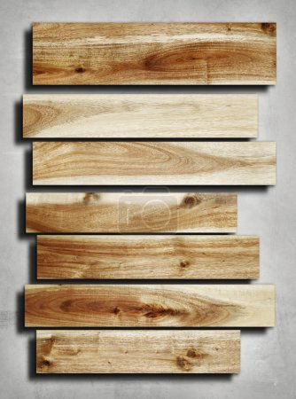 Wooden planks on grey