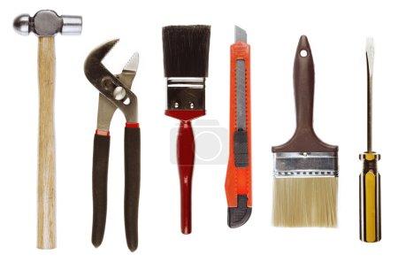 Photo pour Assortiment d'outils sur fond plat - image libre de droit