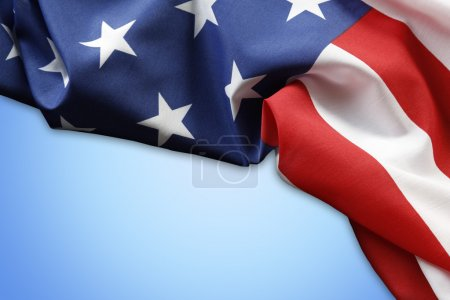 American flag on blue
