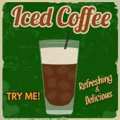 Iced coffee retro poster
