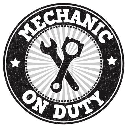 Illustration pour Tampon caoutchouc grunge mécanicien de service sur fond blanc, illustration vectorielle - image libre de droit