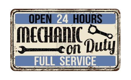 Illustration pour Mécanicien de service sur panneau métal rouillé vintage sur fond blanc, illustration vectorielle - image libre de droit