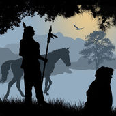 Native american indian silhouettes with spear and horse