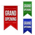 Grand opening banner design set over a white backg...