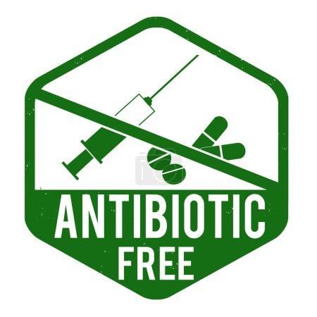 Illustration for Antibiotic free grunge rubber stamp on white background, vector illustration - Royalty Free Image