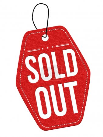 Illustration for Sold out  red leather label or price tag on white background, vector illustration - Royalty Free Image