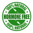Hormone free grunge rubber stamp on white backgrou...