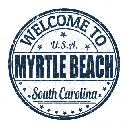 Illustration for Welcome to Myrtle Beach grunge rubber stamp on white background, vector illustration - Royalty Free Image