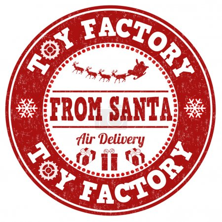 Illustration for Toy factory from Santa grunge rubber stamp on white background, vector illustration - Royalty Free Image