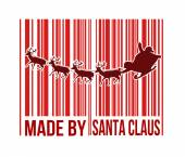 Made by Santa Claus barcode with Santa sleigh