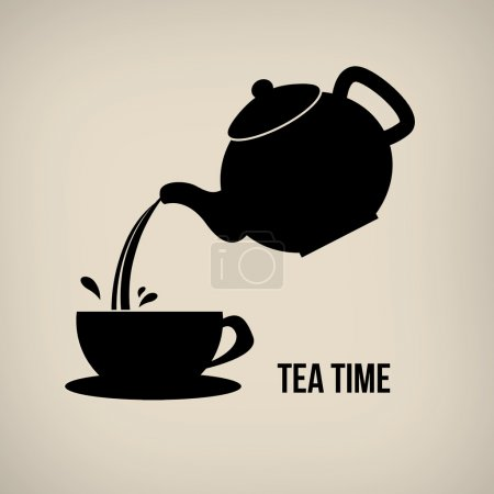 Tea time icon in vintage style poster with teapot ...
