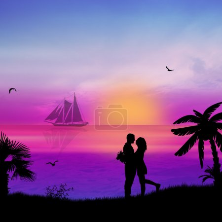 Illustration for Romantic couple on the beach in beautiful seascape at sunset near ocean - Royalty Free Image