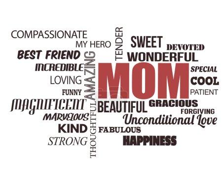 Illustration pour Mot de jour de mères cloud sur fond blanc, illustration vectorielle - image libre de droit