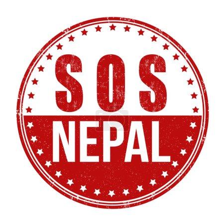 Illustration for SOS Nepal grunge rubber stamp on white background, vector illustration - Royalty Free Image