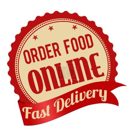 Illustration for Order food online promotional label, sticker or stamp on white background, vector illustration - Royalty Free Image