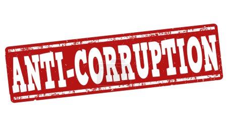 Illustration pour Timbre anti-corruption en caoutchouc grunge sur fond blanc, illustration vectorielle - image libre de droit