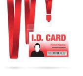 Red id lanyard card