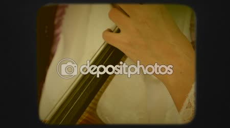 Woman Playing the Violoncello. Retro