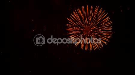 Huge Circles And Golden Rain At Fireworks Show At Night Sky