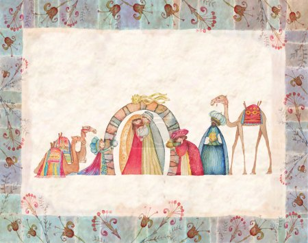Illustration of Christian Christmas Nativity scene with the three wise men