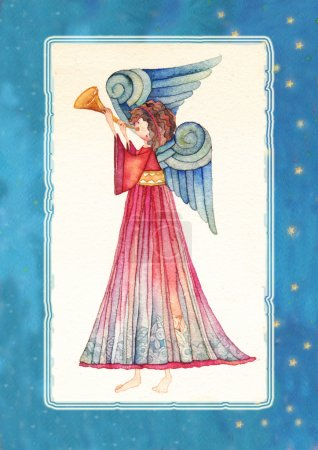 Angel with trumpet, watercolor.