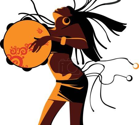 The ethnic girl dances
