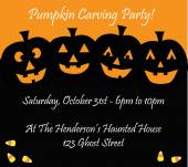 Pumpkin carving happy Halloween party invite