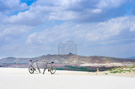 Photo for Bikes standing on mountain background, Cappadocia,Turkey - Royalty Free Image