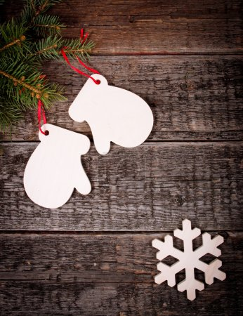 Photo for Christmas holiday decorations on old wooden background - Royalty Free Image