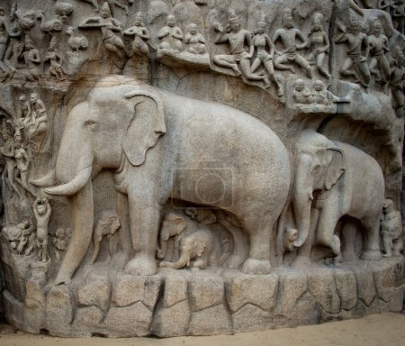 statues   in Mamallapuram,  India