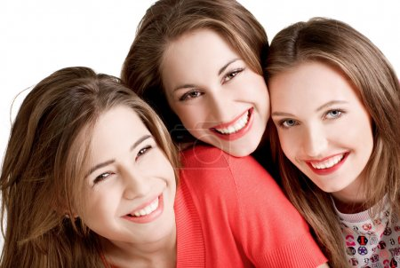 Photo for Portrait of three young beautiful  happy girls - Royalty Free Image