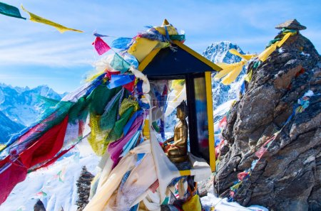 Gokyo ri with prayer flags in Nepal