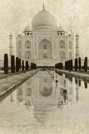 Taj Mahal in Agra in vintage style