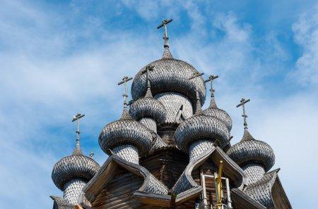 Wooden church against blue sky