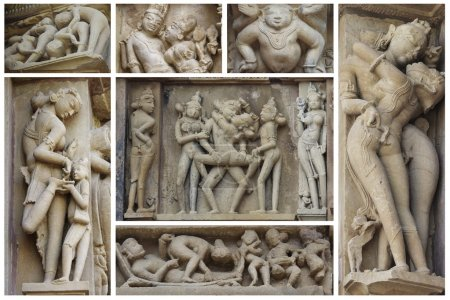 Set of stone carved erotic bas-reliefs