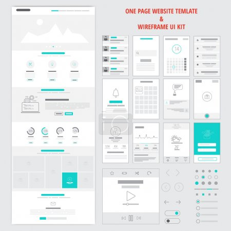 Illustration for Fllat responsive one page website template and mobile app wireframe kit. Vector - Royalty Free Image