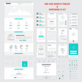 Fllat responsive one page website template and mobile app wireframe kit Vector