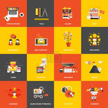 Illustration for Set of flat design concept icons website development, creative process, store, seo, gallery, tools , time is money, teamwork and accounting - Royalty Free Image