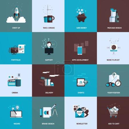 Illustration pour Ensemble d'icônes de concept de design plat pour le démarrage, prendre un frein, magasin, paquet, portefeuille, support, le temps est de l'argent, développement d'applications, musique, cinéma, événements et newsletter. Vecteur - image libre de droit