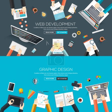 Illustration for Flat designed banners for web development and graphic design. Vector - Royalty Free Image