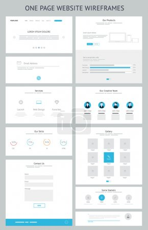 Flat responsive one page website wireframe kit