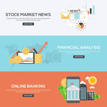 Illustration for Flat Designed Banners Concept of Stock market news, Financial analysis and online banking. Icons Collection of Creative Work Flow Items and Elements. Vector - Royalty Free Image