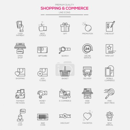 Line  icons for Shopping and Commerce