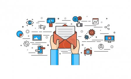 Thin line flat design of Email marketing