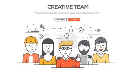 Illustration pour Conception Flat Line concept d'image graphique, mise en page des éléments du site Web de l'équipe créative. Icônes Collection d'éléments et d'éléments de flux de travail créatif. Illustration vectorielle - image libre de droit