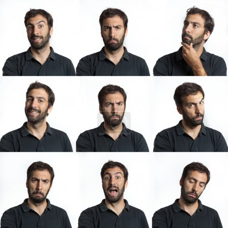 Photo for Young man face expressions with beard and moustaches composite isolated - Royalty Free Image