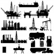 Set of detailed silhouettes of oil industry object...
