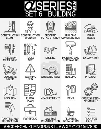Line design icons- building